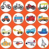 Cute vehicle types Royalty Free Stock Image