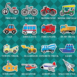 Cute vehicle types in sticker style on square graphic royalty free illustration