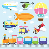 Cute Vehicles Set. A Vector Illustration of Cute Vehicles Set Stock Images