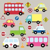 Cute Vehicles Transport set Royalty Free Stock Images