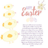 Cute vertical border with Easter elements: chickens, eggs and spring flowers with place for text. Royalty Free Stock Photos