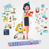 Cute Veterinarian. Character design with icon set, zoological me. Dicine -  illustration Royalty Free Stock Image