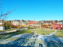 Cute village in Sergiev Posad, Russia. Colorful cute small village in Sergiev Posad in Russia in winter season royalty free stock images