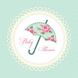 Cute vintage baby shower card with umbrella as fabric applique. For your decoration stock illustration