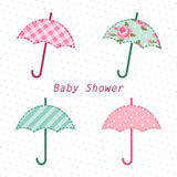 Cute vintage baby shower card with umbrella as fabric applique. For your decoration royalty free illustration