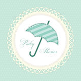 Cute vintage baby shower card with umbrella as fabric applique Stock Image
