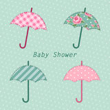 Cute vintage baby shower card with umbrella as fabric applique Stock Photography