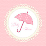 Cute vintage baby shower card with umbrella as fabric applique Stock Photo