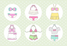 Cute and Vintage Bikini. In pastel theme on polka dot background Vector Illustration