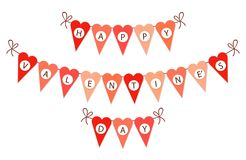 Cute vintage heart shaped bunting flags ideal for Valentines Day etc. Cute vintage bunting flags ideal for Valentines Day, wedding, birthday, bridal shower, baby Stock Images