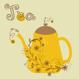 Cute vintage card with teapot Royalty Free Stock Photo