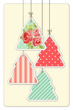 Cute vintage Christmas card in shabby chic style. For your decoration Royalty Free Stock Photo