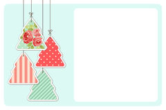 Cute vintage Christmas card in shabby chic style. For your decoration Royalty Free Stock Photography