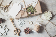 Cute vintage christmas new year gifts mock up on Stock Images