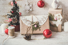 Cute vintage christmas new year gifts mock up on Royalty Free Stock Photos