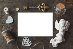 Cute vintage christmas new year gifts mockup on wooden background. Royalty Free Stock Photography