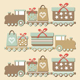 Cute vintage christmas steam train with gifts,  ca Royalty Free Stock Images