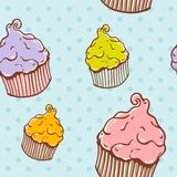 Cute vintage cupcake seamless texture Stock Images