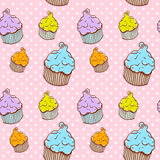 Cute vintage cupcake seamless texture Stock Photos