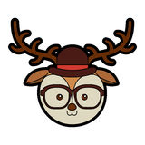 Cute vintage deer face cartoon. Graphic design Stock Photography