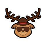 Cute vintage deer face cartoon. Graphic design Stock Photos