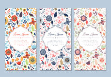 Cute vintage doodle floral cards set. For invitation, label, banner, wedding, party, baby shower, hen-party, mother's day, valentine. Beautiful background with stock illustration