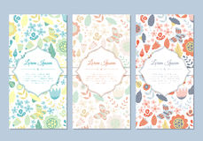 Cute vintage doodle floral cards set. For invitation, label, banner, wedding, party, baby shower, hen-party, mother's day, valentine. Beautiful background with Stock Photo