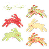 Cute vintage Easter card in shabby chic style with bunny. As fabric patch applique Stock Image