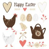 Cute vintage easter elements  set Royalty Free Stock Photography