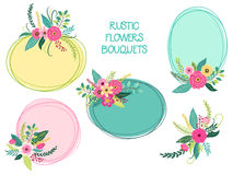 Cute vintage elements as rustic hand drawn first spring flowers bouquets Stock Images