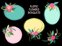 Cute vintage elements as rustic hand drawn first spring flowers bouquets Stock Photo