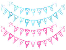 Cute vintage festive  bunting flags. With letters Happy Birthday in pink and blue colors for boy and girl Stock Photography