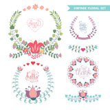 Cute vintage  floral arrangement set with hearts Royalty Free Stock Photo