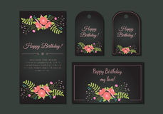 Cute vintage floral cards set. Design composition with flowers and leaves. Beautiful background. For greeting card, invitation, wedding, party, birthday, baby vector illustration