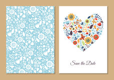 Cute vintage floral cards set. Stock Photos