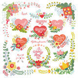 Cute vintage  floral set with hearts.Love decor Royalty Free Stock Photo