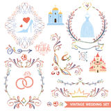 Cute vintage floral set with wedding icons,doodle Stock Image