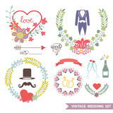 Cute Vintage floral set with wedding items Stock Photo