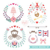 Cute Vintage floral set with wedding items. Set of cute floral wedding composition in retro style.Vintage Vector floral wreatl  with wedding items.Design Royalty Free Stock Photo