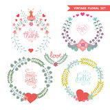 Cute vintage   floral wreath set with hearts Royalty Free Stock Photo