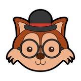 Cute vintage fox face. Cartoon graphic design Stock Photos