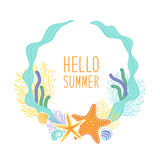 Cute vintage frame with hand drawn shells and starfishes and hand written text Hello Summer Royalty Free Stock Images