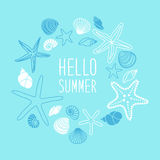 Cute vintage frame with hand drawn shells and starfishes and hand written text Hello Summer Royalty Free Stock Photos