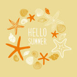 Cute vintage frame with hand drawn shells and starfishes and hand written text Hello Summer Royalty Free Stock Image