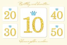 Cute vintage golden glitter numbers with crown. Can be used as birthday card, anniversary card etc vector illustration