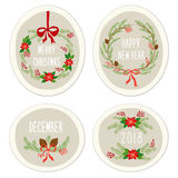 Cute Vintage Hand Drawn Christmas Holiday Floral Wreath collection Stock Photos