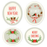 Cute Vintage Hand Drawn Christmas Holiday Floral Wreath collection Stock Image