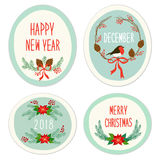 Cute Vintage Hand Drawn Christmas Holiday Floral Wreath collection Royalty Free Stock Photos