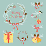 Cute Vintage Hand Drawn Christmas Holiday Floral Wreath collection Stock Images