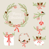 Cute Vintage Hand Drawn Christmas Holiday Floral Wreath collection Royalty Free Stock Photo
